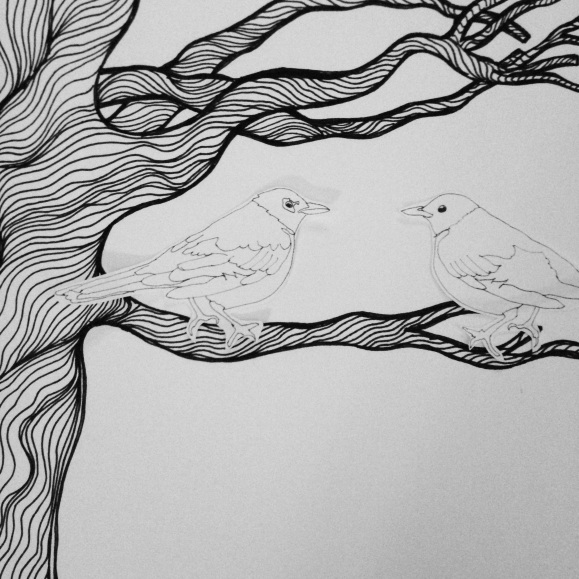 Little birds in a tree.