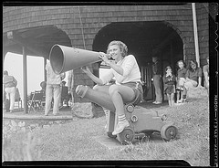 This bullhorn girl is awesome. Her pic is part of the Boston Public Library's gallery on Flickr.
