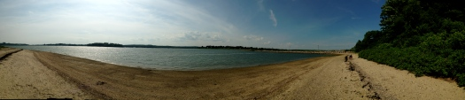 A panorama of the shoreline.