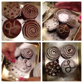 Birthday 'muffins' with hand cut stencils by Dehbi. (Derek thinks that if we call them muffins instead of cupcakes they'll be healthier.)