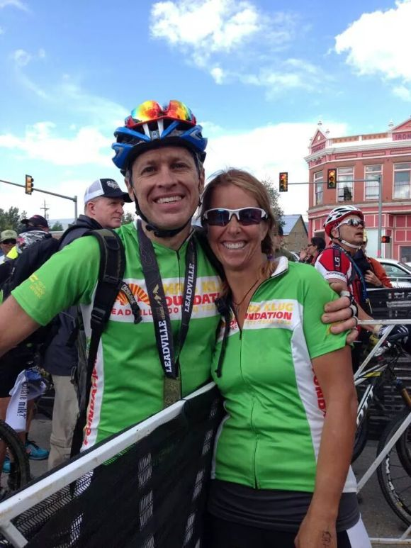 Jim with teammate Esther. She broke her arm last week, but still rode 40 miles with a cast!