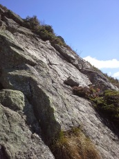 Trail is to the left up the rocks