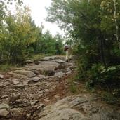 Climbing some rocks.