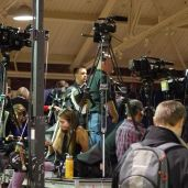 Lots of cameras, lots of standing around.