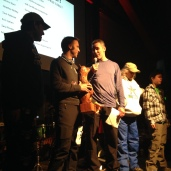 Derek receiving the Michael Wells Inspirational Award from Chris Klug