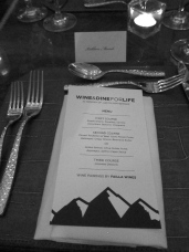 The menu for the evening. The food was delicious!