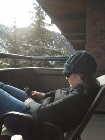 Lounging on the veranda.