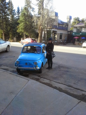 Cute little blue Fiat.