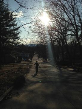 Chasing Derek down the hill.
