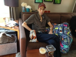 May 21, 2014 - First Day home from the hospital. In full snack mode.