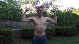 Present day. GUN SHOW! Also, that line down his abdomen is not a different scar, it's just his hairy belly.
